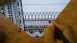 How To Drawwing Zentangle Step By Step # Line Mode