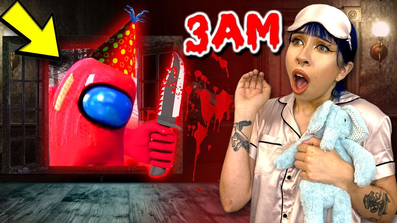 ATTACKED BY IMPOSTOR FROM AMONG US AT 3AM!! part 1