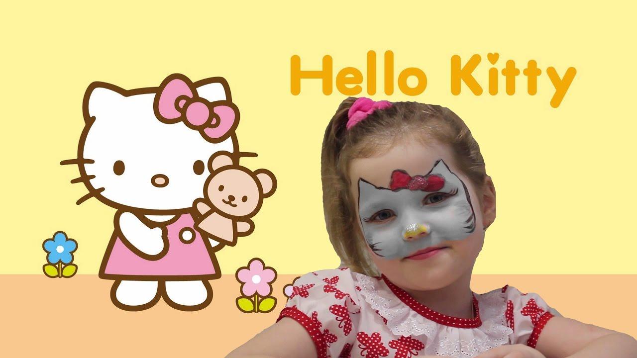 Аквагрим для детей Hello Kitty рисунок на лице face ...