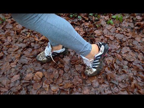 Her muddy Nike Shox
