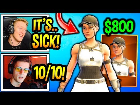 """streamers-react-to-*new*-exclusive-$800-""""elite-raider""""-skin!-(iphone)-fortnite-moments"""