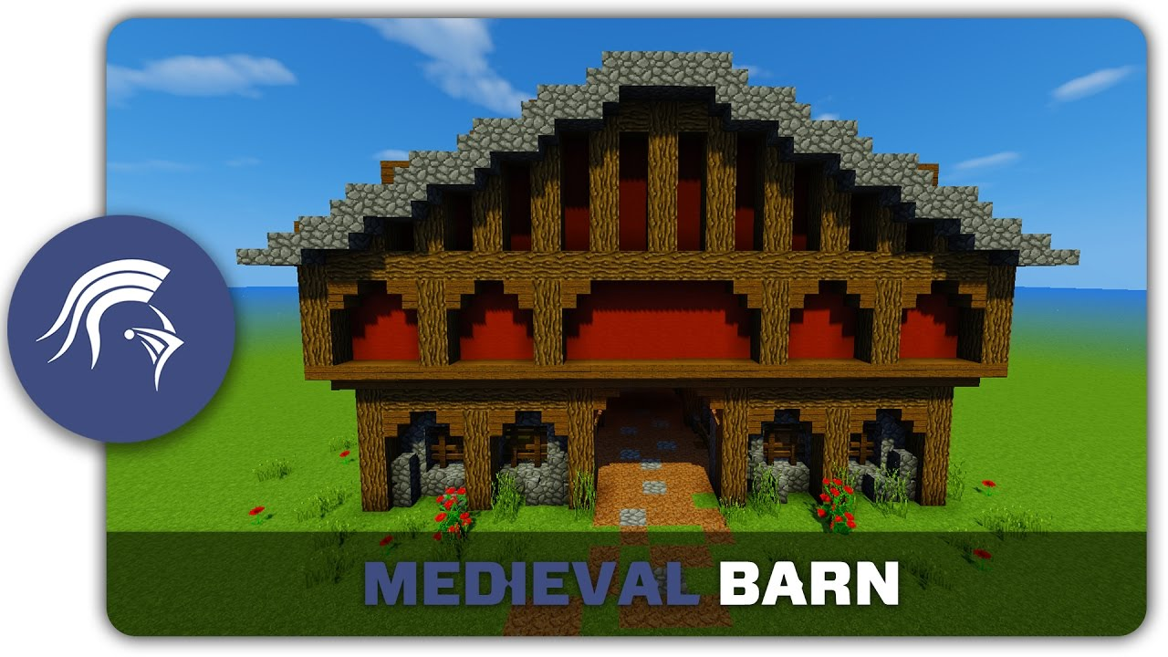 Minecraft Building Tutorial   How To Build A Medieval Barn    Animal Farm