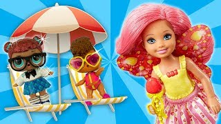 Barbie Chelsea Babysits LOL Family Sisters Teacher's Pet and Rip Tide Sneak into Barbie Splash Pool