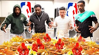 GIANT SEAFOOD MUKBANG WITH FLIGHT, CASH & 50KAL MAL! (NBA DISCUSSION)