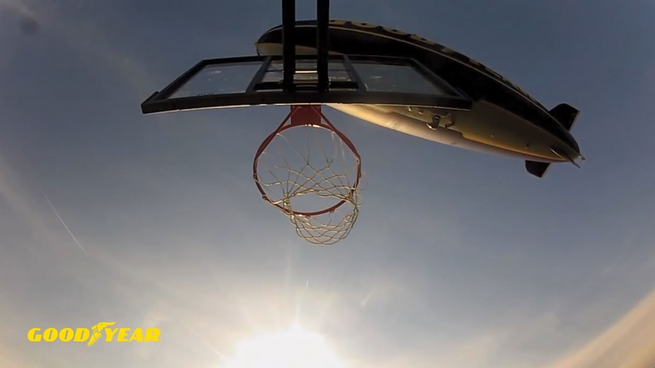 Dude Perfect Basketball Shot From GY Blimp - Goodyear Tires - YouTube