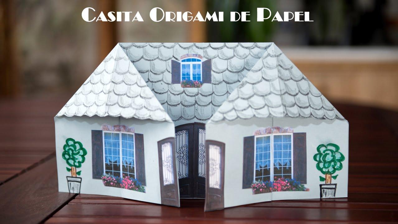 Casita origami de papel facil sima para jugar youtube - Casas decoradas con papel pintado ...