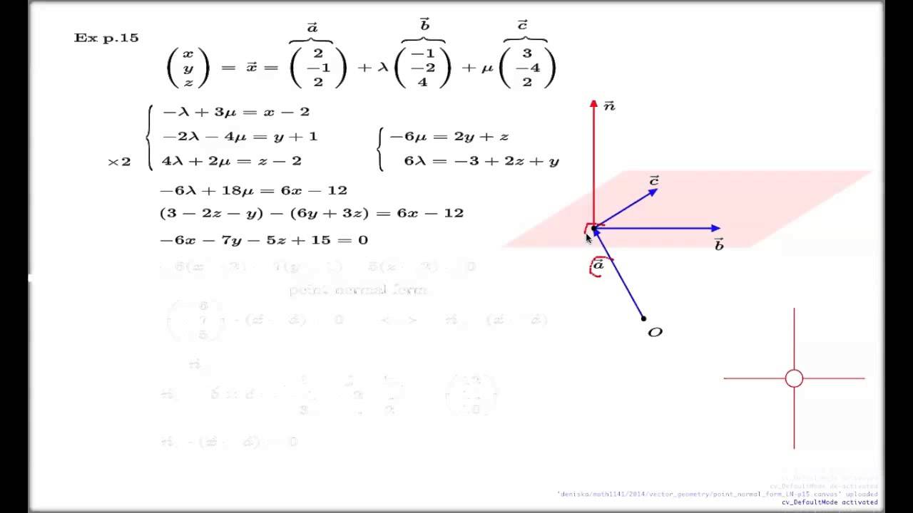 Three Point Plane : Equation of plane point normal form youtube
