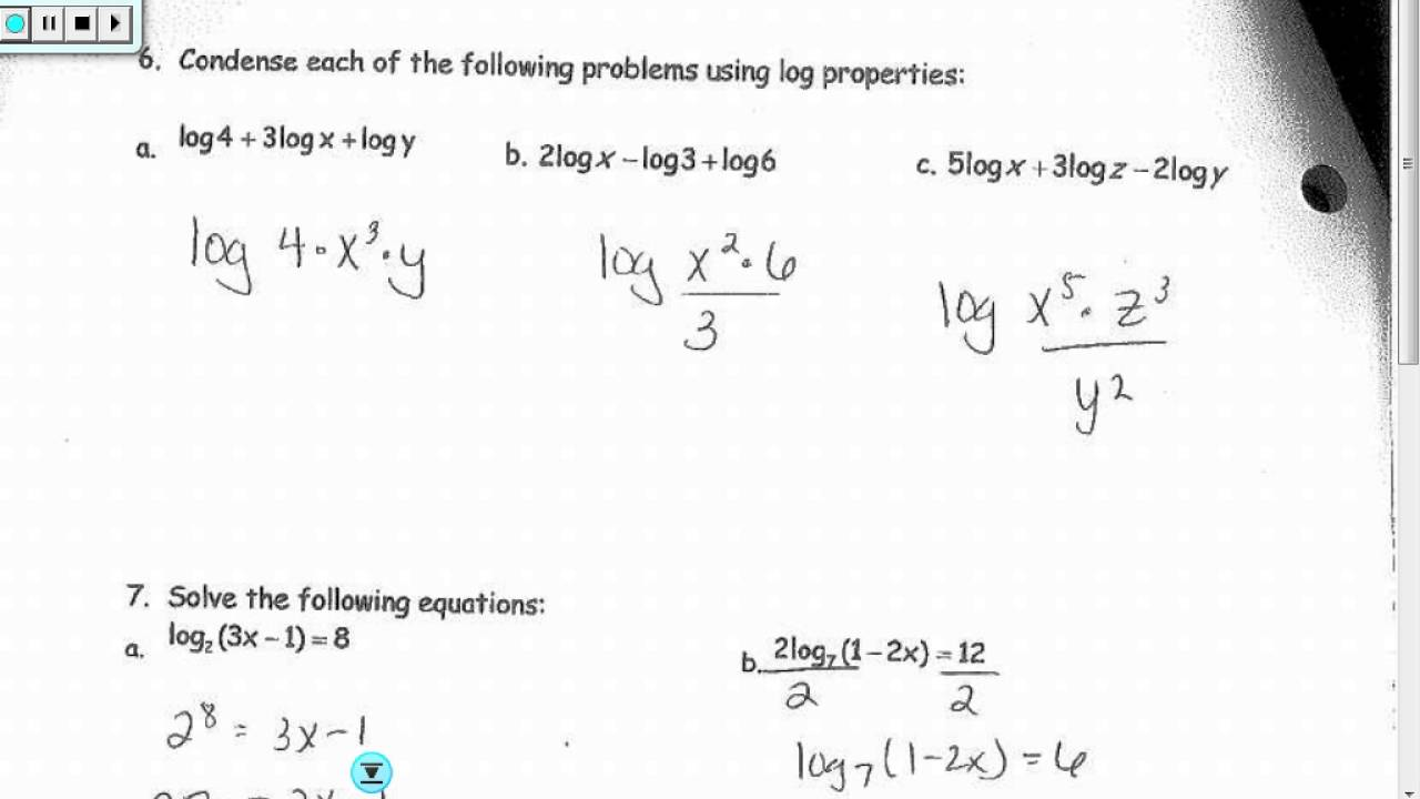 Worksheets Solving Logarithmic Equations Worksheet unit 11 logarithm review answers youtube answers