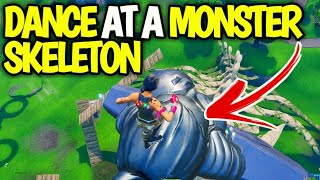 Dance at a Monster skeleton Location fortnite | Overtime challenge Guide (How To Fix Bug)