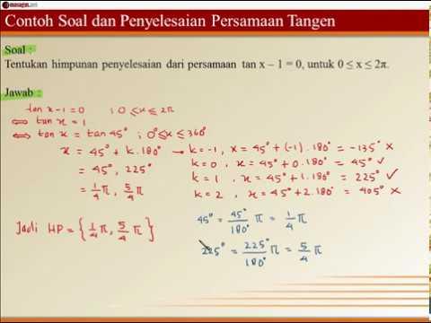 Contoh Soal Dan Penyelesaian Persamaan Tangen 1
