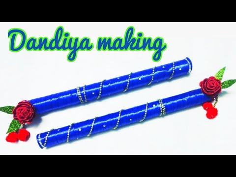 Newspaper dandiya for kids / dandiya decoration / how to make dandiya stick at home with newspaper.