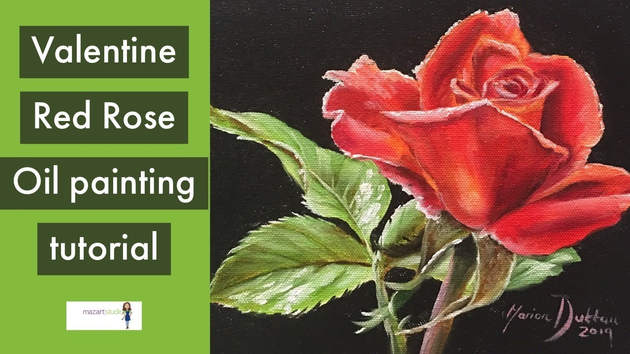 Rose painting tutorial for beginners. Valentine red rose oil.