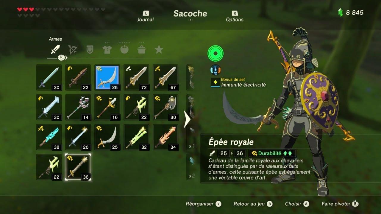 Zelda Breath Of The Wild #HS emplacement arme 2- épée