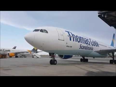 Thomas Cook Scandinavia A330 Parking at the gate - Larnaca Intl Airport