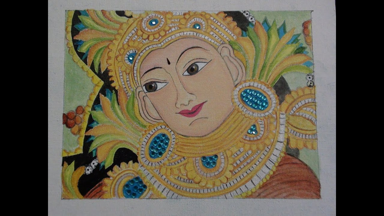 Kerala mural design painted with artists 39 acrylic colours for Mural art designs