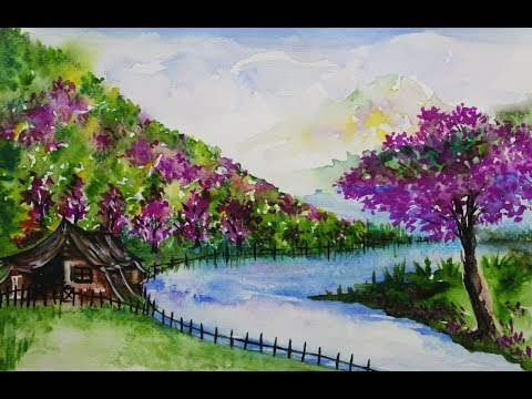 Learn To Paint Watercolor Landscape | Paint River Landscape | Watercolor Landscape | Color Splash
