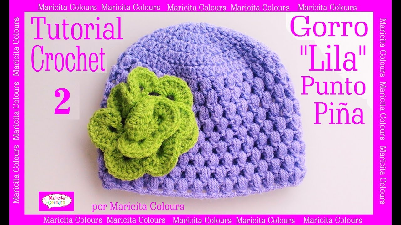 gorro beb punto puff crochet lila 2 por maricita colours subtitles in english deutsch. Black Bedroom Furniture Sets. Home Design Ideas