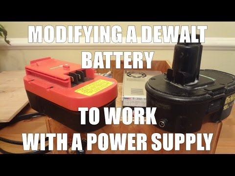 Modifying a DeWalt 18V battery to work with DC power supply - No more batteries