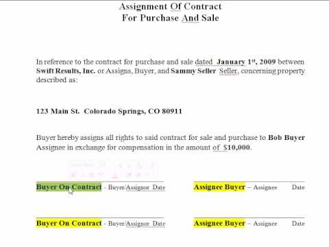 How to Wholesale Filling out an Assignment of Contract Form Real – Sales Contract Sample