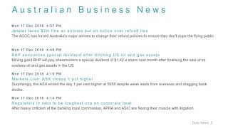 Business News Headlines for 17 Dec 2018 - 6 PM Edition