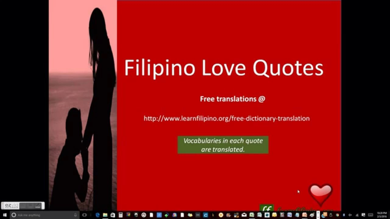 Tagalog Translations Filipino Love Quotes with English caption