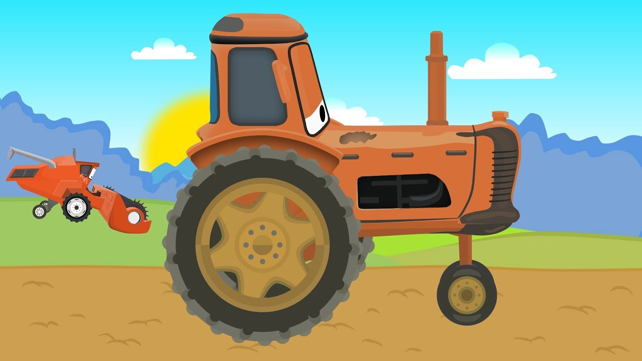 Tractor Cartoon Picker : Tractor and combine harvester with mcqueen prace na