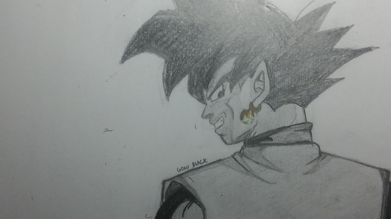 Drawing goku black pencil