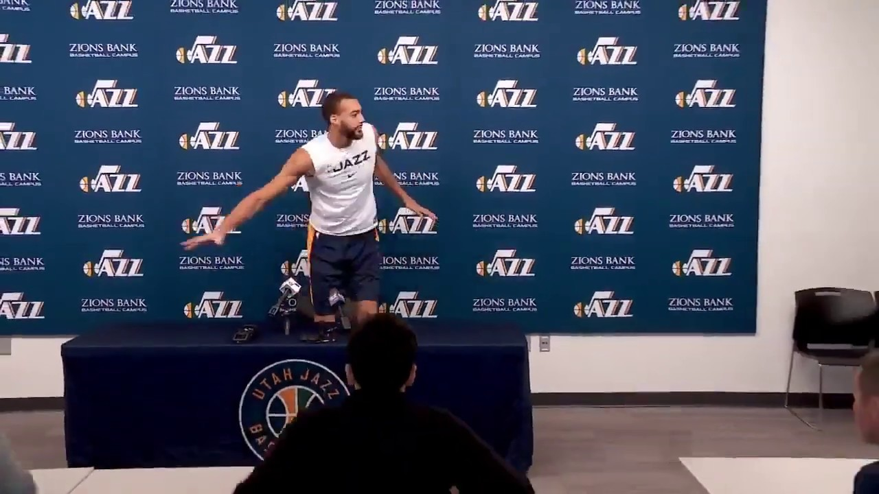 Rudy Gobert touching all the microphones at media availability - tested positive for COVID-19