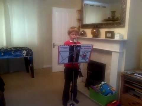 James plays Ode to Joy on clarinet