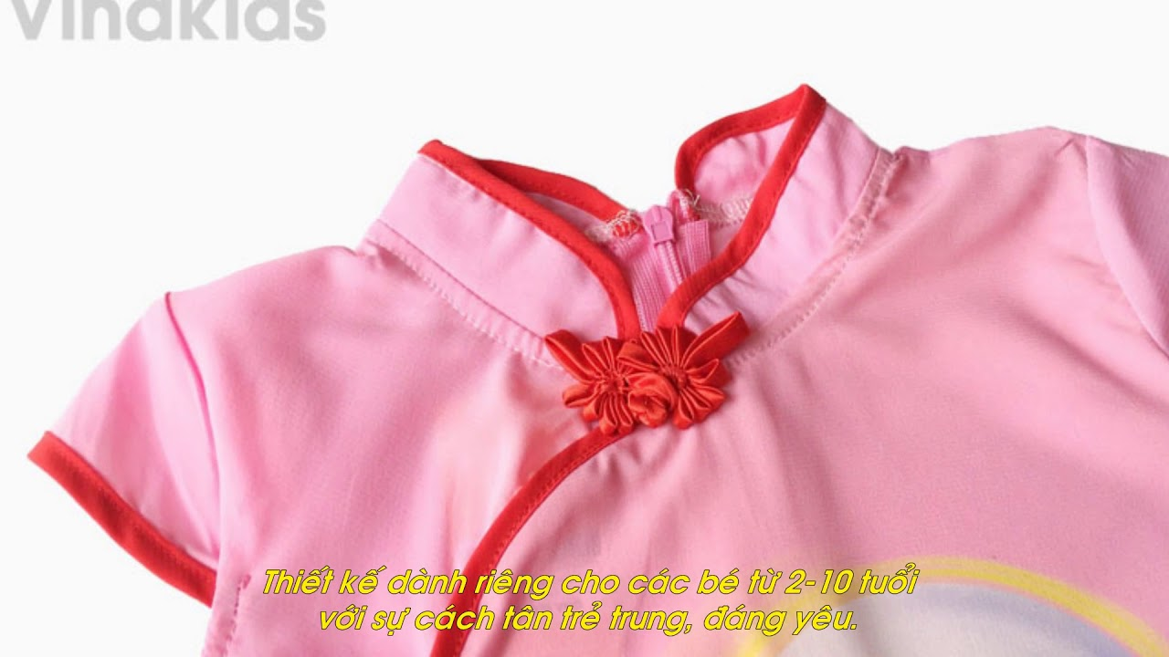 Sườn xám bé gái hình cô tiên màu hồng size 2-10 tuổi (11-25kg)