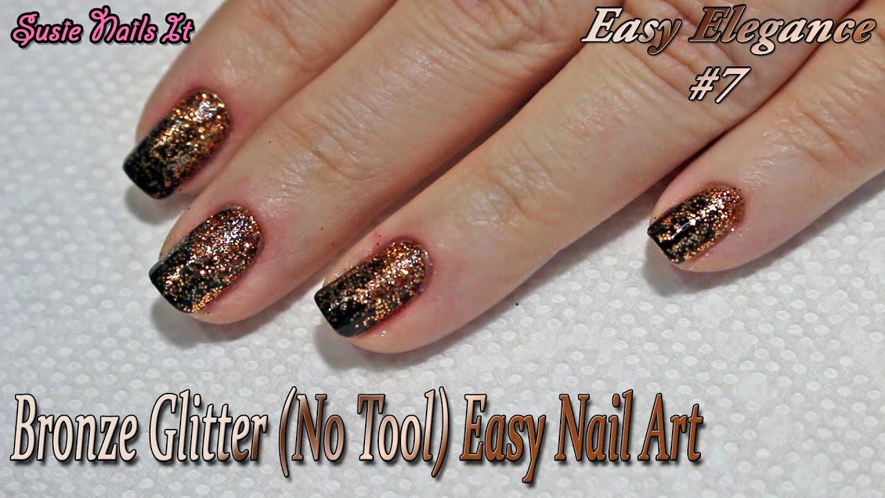 Easy Elegance #7 Bronze Glitter Fade, Easy Nail Art Design - YouTube