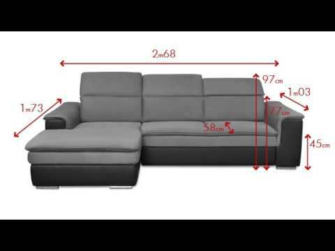 canap d 39 angle convertible en microfibre et simili avec t ti res relax connor youtube. Black Bedroom Furniture Sets. Home Design Ideas