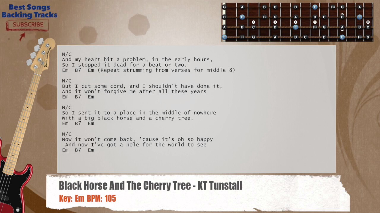 Black Horse And The Cherry Tree Kt Tunstall Bass Backing Track