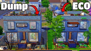 Eco Friendly vs Dump Townhouses PLUS Eco Lifestyle Giveaway - The Sims 4 Speed Build