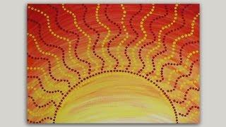 painting dot easy paintings acrylic aboriginal sun abstract simple canvas paint dots artwork mandala acrylics yellow