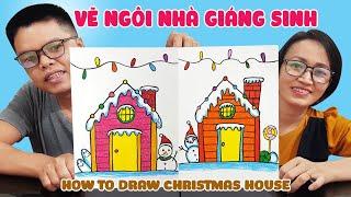 Dạy vẽ Ngôi nhà Giáng sinh ♥ How To Draw Christmas House ♥