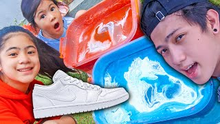 We HYDRO DIPPED Natalias Shoes!! (Home DIY) | Ranz and Niana