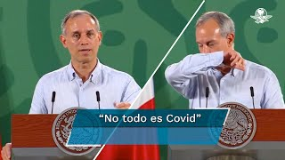 López-Gatell, con gripe, tos y sin cubrebocas en