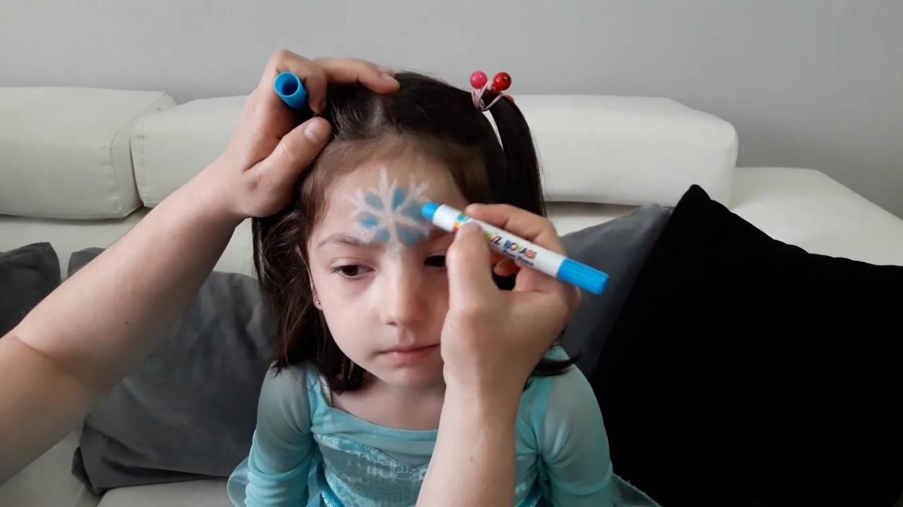 Yüz Boyamasi Yaptik Elsa Karlar Kraliçesi Yıldızı çocuk Oyun Ve