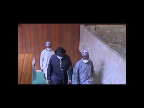 Former President Goodluck Jonathan briefs President Muhammadu Buhari on the political crisis in Mali