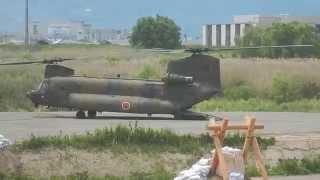 平成27年5月23日篠ノ井で行われた「平成27年度千曲川総合水防演習」の際...