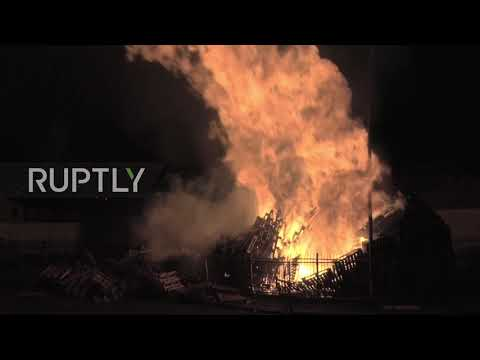 UK: Hundreds Watch As British, US And Israeli Flags Burn On Annual Derry Bonfire