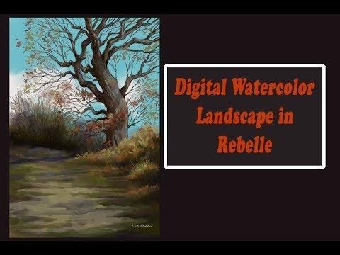 Digital Watercolor Landscape in Rebelle