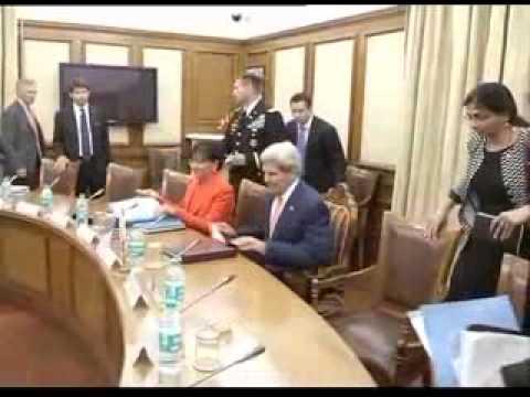 US Secretary of State John Kerry meets Union Minister Arun Jaitley
