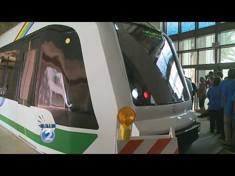 Rail transit car replica on display at Kapolei Hale