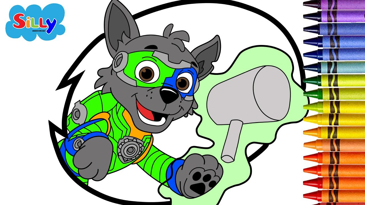 silly  drawing and coloring   mighty pups  paw patrol