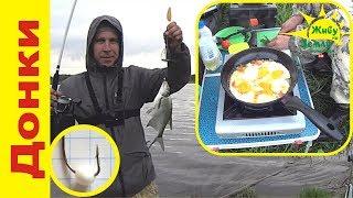 Рыбалка на донки Крокодил с ночевкой на реке. Курочка и картошка на углях, яичница с овощами.