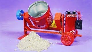 Increíble Mini Hormigonera con latas de refrescos y motor DC