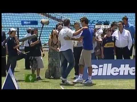 Roger Federer played football-tennis with Del Potro and Batistuta at Boca stadium Argentina. Part-3