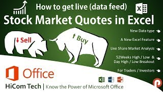 How to Get Stock Market Live Data Feed / Market Analysis in Excel |  Tamil